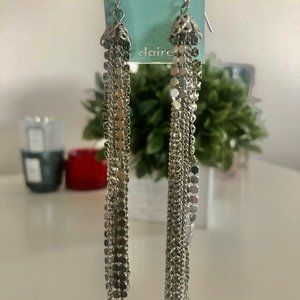 Silver Tone Textured Design Dangle Earring